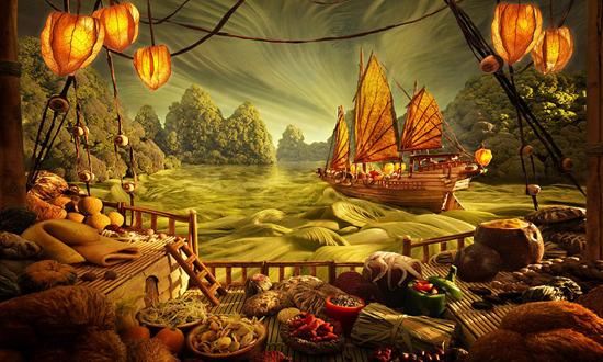 英国艺术家用食材打造美丽场景